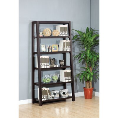 Hokku Designs Heida Five-Shelves Ladder Style Bookcase / Display Cabinet in Warm Coffee Bean