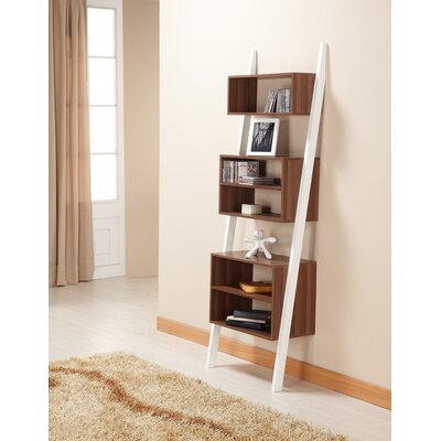 Hokku Designs Mateo Bookcase/Display Stand in Matte Walnut and White