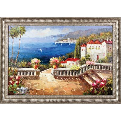 Hokku Designs Path to Ocean Hand Painted Oil Canvas Art with Frame