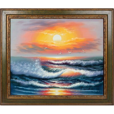 Ocean Hand Painted Oil Canvas Art with Frame