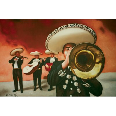 "Hokku Designs Mariachi Oil Painting on Canvas Art - 24"" x 36"""