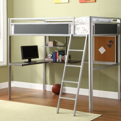 Hokku Designs Apollo Twin Loft Bed with Desk and Bookshelves