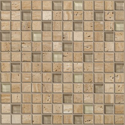 "Shaw Floors Mixed Up 12"" x 12"" Mosaic Travertine Accent Tile in Dune"