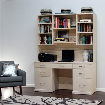 Flat Iron Computer Desk with 7 Drawer