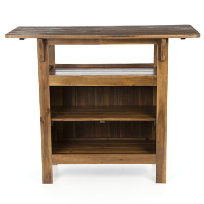 International Caravan Acacia Patio Wood Bar Table