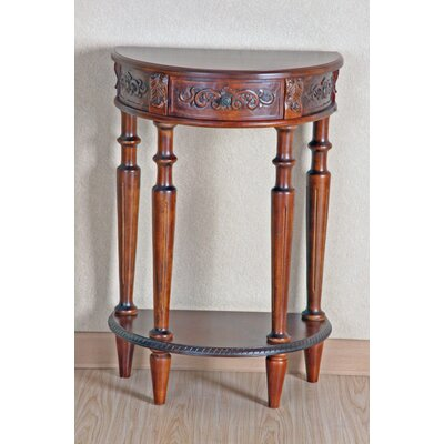 International Caravan Carved Wood Small Half Moon Console Table