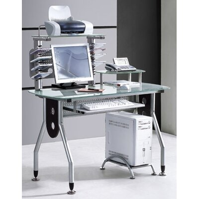 International Caravan Glass Top Computer Desk with 4 Levels and CD Holders