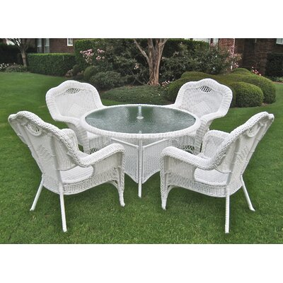 International Caravan Kingsbury 5 Piece Outdoor Game Patio Dining Set