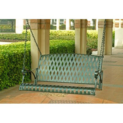 International Caravan Diamond Lattice Iron Porch Swing