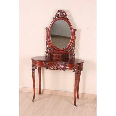 International Caravan Windsor Hand Carved Vanity with Mirror