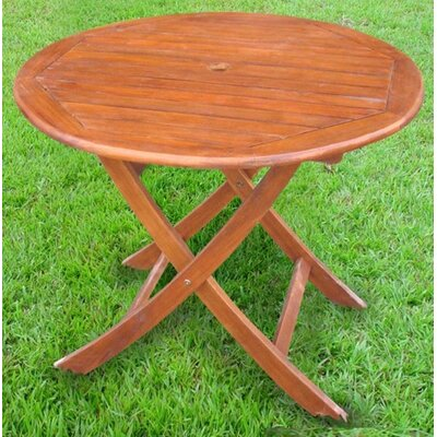 "International Caravan Acacia Patio 38"" Round Folding Dining Table"