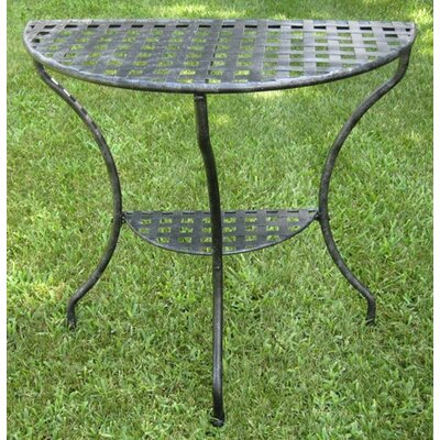 Iron Patio Two Tier Half Moon Side Table