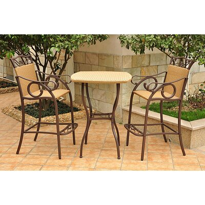 International Caravan International Caravan Valencia 3-Piece Bar Height Patio Bistro Set