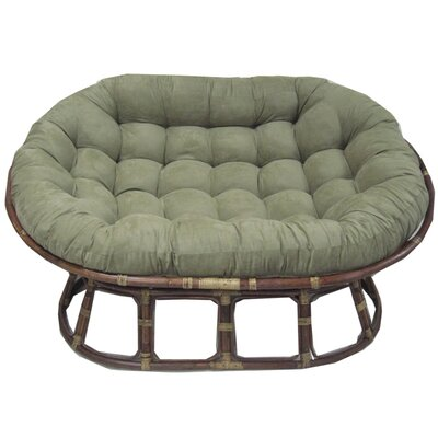 International Caravan Rattan Double Papasan Chair with Micro Suede ...