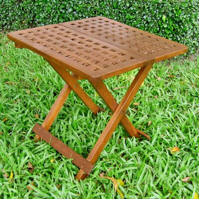 International Caravan Acacia Patio Checkerboard Square Folding Side Table