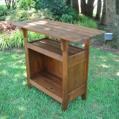 International Caravan Highland Acacia Patio Wood Bar Table