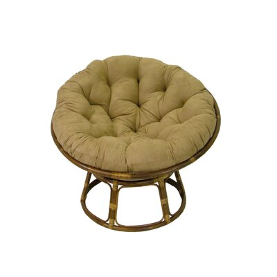 "International Caravan 42"" Rattan Papasan Chair with Microsuede Cushion"