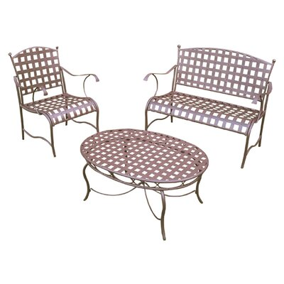 International Caravan Santa Fe Iron Patio 3 Piece Lounge Seating Group