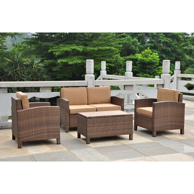 International Caravan Barcelona 4 Piece Deep Seating Group with Cushions
