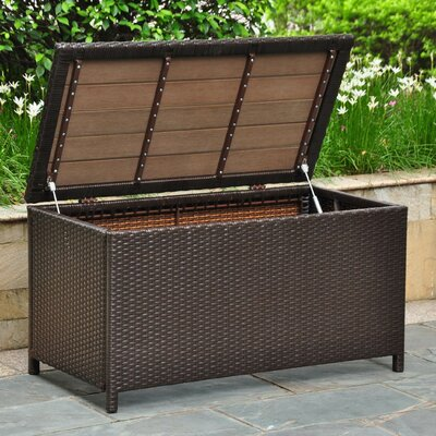 International Caravan Barcelona Wicker Resin Aluminum Patio Storage Trunk