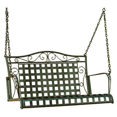 International Caravan Mandalay Wrought Iron Hanging Porch Swing