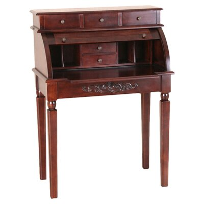 International Caravan Windsor Hand Carved Roll Top Desk