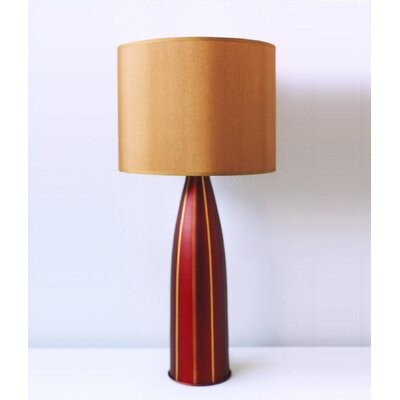 Striped Val Table Lamp in Raku with Gold Silk Shade