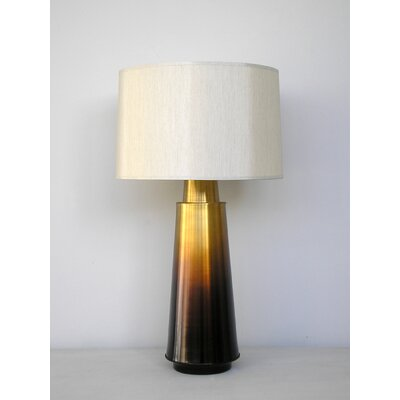 Babette Holland Tower Table Lamp in Bronze Fade with Pebble Silk Shade