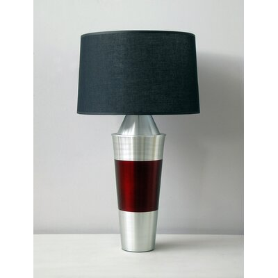 Babette Holland Uptown Gemini Table Lamp with Raku Band and Black Linen Shade