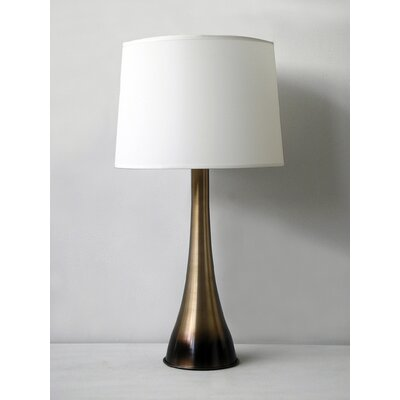 Babette Holland Ostrich Table Lamp in Mocha Horizon with White Linen Shade
