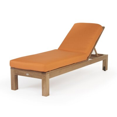 Caluco LLC Teak Single Chaise with Cushion