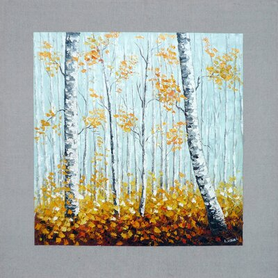 Birch Trees in Fall I Original Painting on Canvas