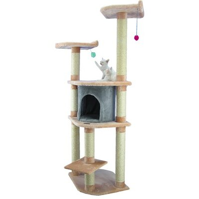 "Armarkat 64"" Classic Cat Tree in Blanched Almond"