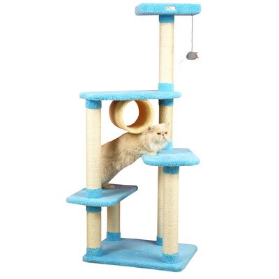 "Armarkat 61"" Ultra-Thick Premium Cat Tree in Sky Blue"