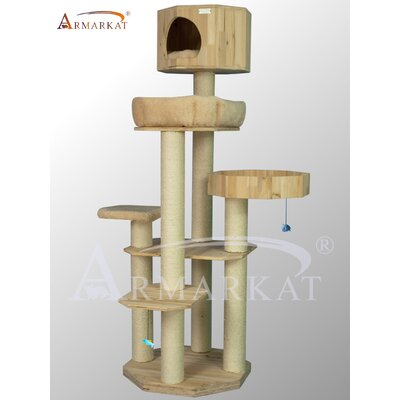 "Armarkat 72"" Solid Wood Cat Tree"
