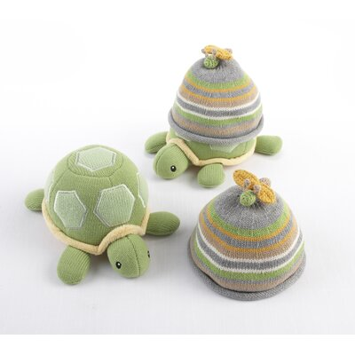 Baby Aspen ''Turtle Toppers'' Baby Hat and Turtle Plush Gift Set