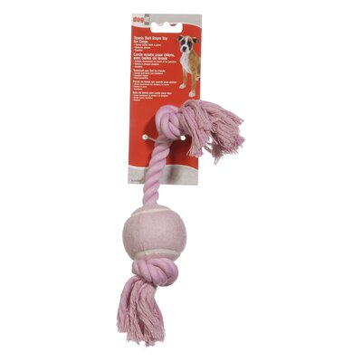 Dogit by Hagen Dogit Cotton Rope Bone with Tennis Ball Dog Toy in Pink