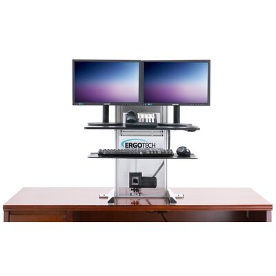 One-Touch Height Adjustable 2 Screen Desk Mount Set