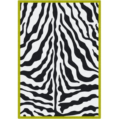 Milliken Black & White Zebra Glam Citrus Green Rug