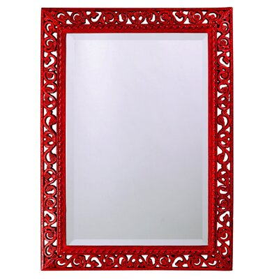 Red wall mirror