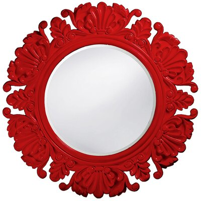 Anita Round Framed Mirror in Red