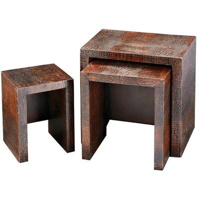 Howard Elliott Faux Crocodile Nesting Table Set