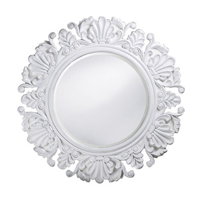 Anita Round Framed Mirror in White