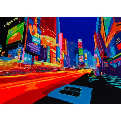 Vibrant City Graphic Art on Canvas