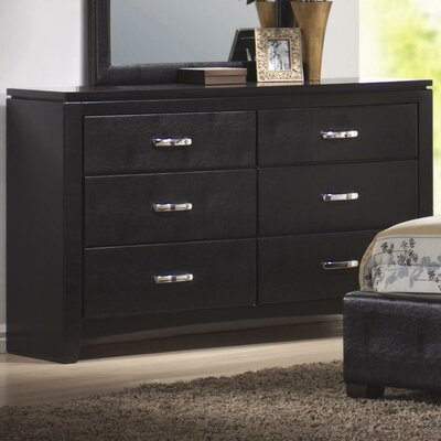 Wildon Home ® Kearny 6 Drawer Faux Leather Dresser