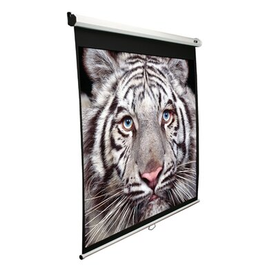 "Elite Screens MaxWhite Manual Series 71.3"" Overall Height Home Cinema Manual Pull Down Screen - 100"" Diagonal in White Case"