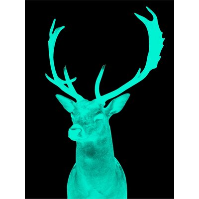 Stag Graphic Art in Night Green