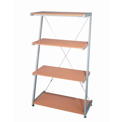 Lite Source Dynamic Four Tier Shelf in Beech Wood with Silver