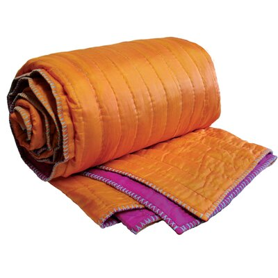 Koko Company Silk Coverlet in Orange / Fuchsia
