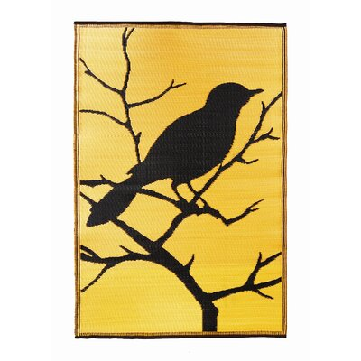 Koko Company Birds Dusk Gold / Black Rug